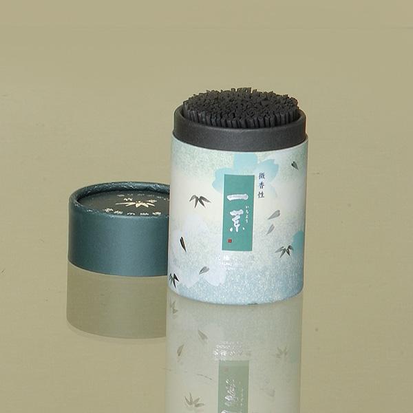 [一葉]竹炭(ミニ) = 線香差しになるケース付きの超微煙性・ほのかに上品に香る微香製のお線香 送料無料