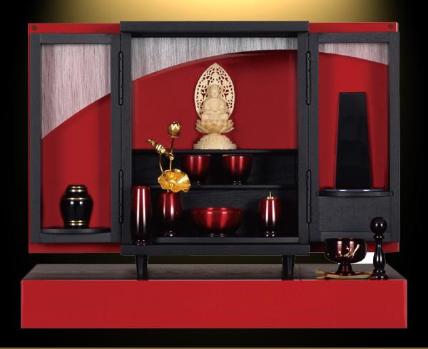 モダン上置仏壇 [夢soメモリアルケース 緋色鏡面仕上げ ] = 高貴な緋色を美しいツヤで仕上げたモダンコンパクト仏壇