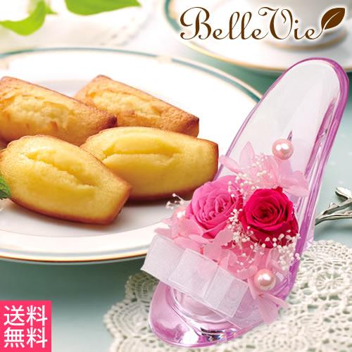 プリザーブドフラワー かわいいガラスの靴+アンリシャルパンティエ フィナンシェ・マドレーヌセット