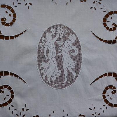 L1678 フランスアンティーク手刺繍&レースクロス カットワーク手刺繍コットン&マシーンフィレレース 51.5x81cm