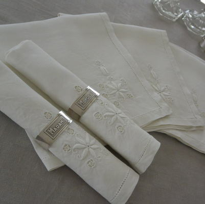 T2181 フランスアンティークリネンテーブルナプキン6枚 手刺繍リネン