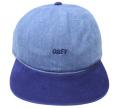 OBEY UNDERGROUND 6パネル デニム ストラップバックCAP ブルー