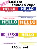 HELLO ステッカー NEW 各20枚6色セット120枚【メール便可】