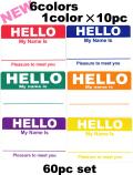HELLO ステッカー NEW 各10枚6色セット60枚 【メール便可】
