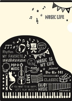 MUSIC LIFE ポケットファイル ☆※お取り寄せ商品 【音楽雑貨 音符・ピアノモチーフ】ト音記号 ピアノ雑貨