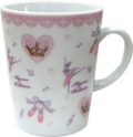 バレエ柄がキュート♪pointe陶器マグカップ ピンク♪この商品はお取り寄せ商品です♪音符 ピアノ 楽器 音楽雑貨 吉澤