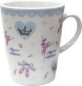 バレエ柄がキュート♪pointe陶器マグカップ ブルー♪この商品はお取り寄せ商品です♪音符 ピアノ 楽器 音楽雑貨 吉澤