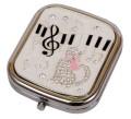 【コンパクトミラー】 音楽とネコ♪この商品はお取り寄せ商品です♪【プレゼントに最適♪】 バレエ発表会 記念品に最適