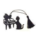 シルエットキャットブックマーク ピアノ ブラック ※お取り寄せ商品 【音楽雑貨 音符・ピアノモチーフ】ト音記号 ピアノ雑貨