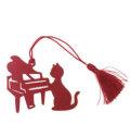 シルエットキャットブックマーク ピアノ レッド ※お取り寄せ商品 【音楽雑貨 音符・ピアノモチーフ】ト音記号 ピアノ雑貨