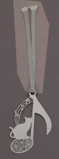 キャットブックマーク シルバー音符 ※お取り寄せ商品 【音楽雑貨 音符・ピアノモチーフ】