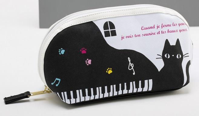 ピアノキャットポーチ ☆※お取り寄せ商品 【音楽雑貨 音符・ピアノモチーフ】ト音記号 ピアノ雑貨