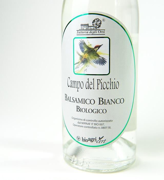 オーガニックの白バルサミコ酢、サラダやマリネに最適です。
