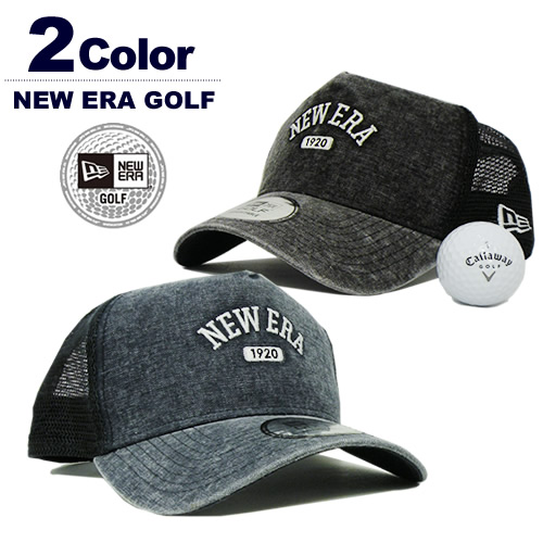 NEW ERA GOLF[ニューエラゴルフ] 9FORTY A-Frame Washed Duck / ロゴメッシュキャップ【2017秋冬】