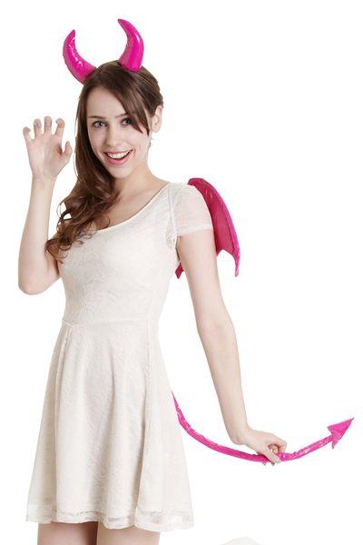 ハロウィン衣装(クリアストーン) デビルパーツセット(フューシャピンク)