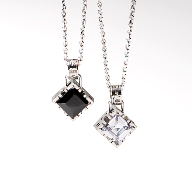 "【DUB Collection|ダブコレクション】Side emblem stone""square"" Pair Necklace サイド エンブレム ストーン スクエア ペア ネックレス DUBj-206-pair【ペア】"