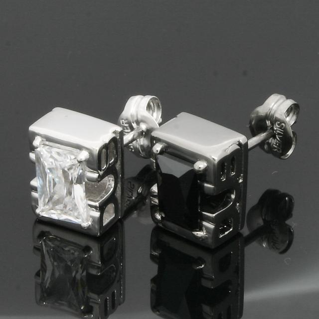 "【DUB Collection|ダブコレクション】Side Emblem Stone ""rectangle"" Pierce DUBj-236-1-2(BK&WH)【ペア】"