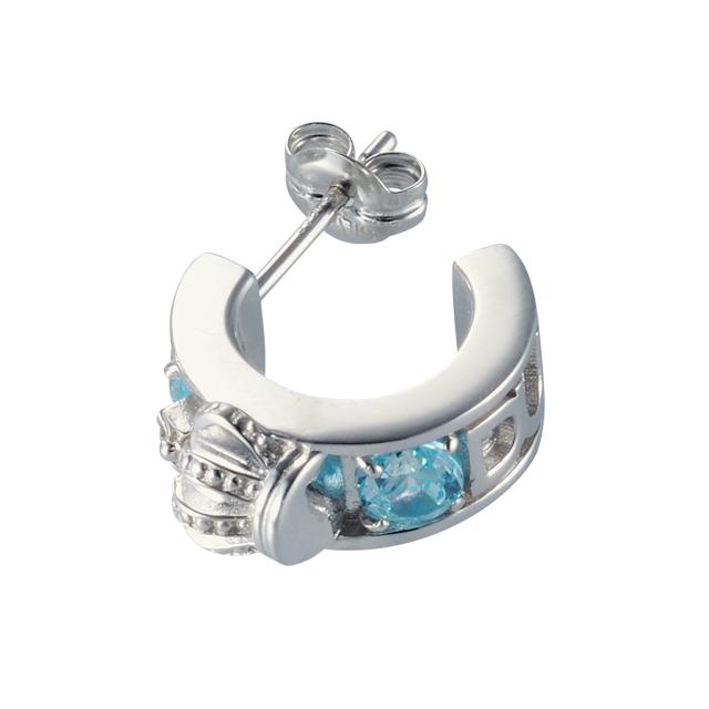 【DUB Collection│ダブコレクション】Crown hoop Pierced|DUBj-298-3(アクアブルーCZ)【ユニセックス】