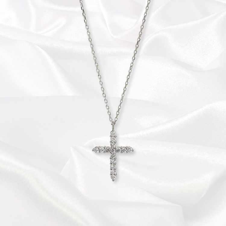 【kikira】Cross Necklace クロスネックレス WH kkr-009-1