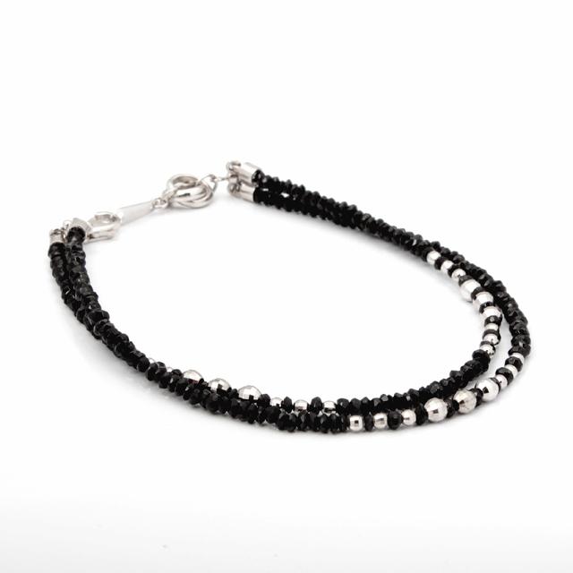【DUB Luxury ダブラグジュアリー】Shine Black 2WG Bracelet シャインブラック2連ホワイトゴールドブレスレット OD-2802【ユニセックス】