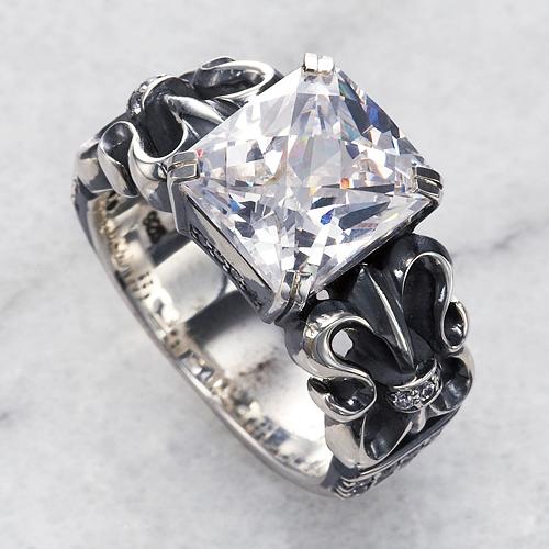 【DUB Luxury|ラグジュアリーダブ】Fleur stone ring ホワイトキュービックリング【OD-401】【ユニセックス】