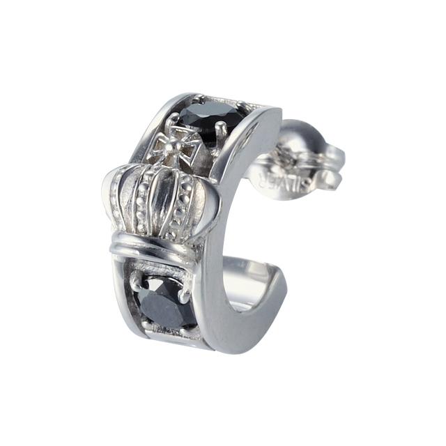 【DUB Collection│ダブコレクション】Crown hoop Pierced|DUBj-298-1(ブラックCZ)【ユニセックス】