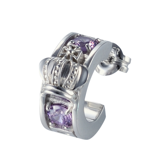 【DUB Collection│ダブコレクション】Crown hoop Pierced|DUBj-298-4(ライトアメジストCZ)【ユニセックス】