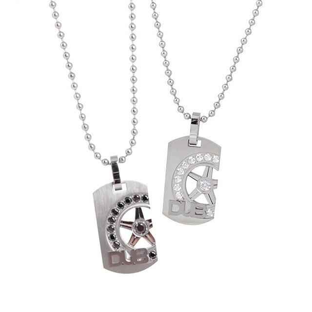 【DUB Collection│ダブコレクション】  DUBJSS-28-Pair stainless necklace ステンレスネックレス/ BKCZ ホイールプレート