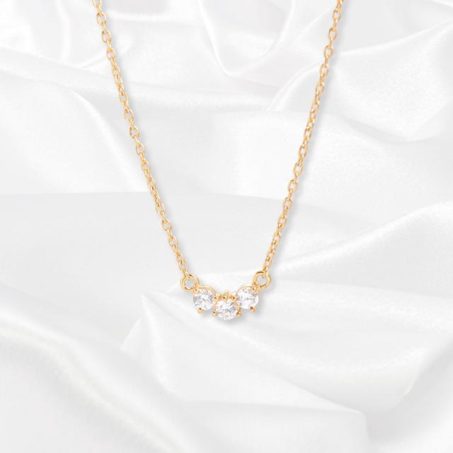 【一次生産分完売!二次予約受付中!】【kikira】Three Stone Necklace 3粒ストーンネックレス GD