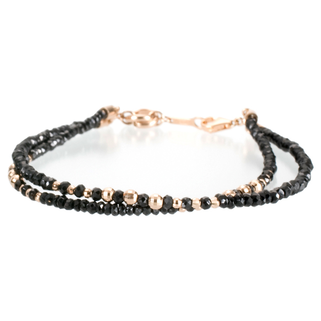 【DUB Luxury|ダブラグジュアリー】Shine Black 2PG Bracelet シャインブラック2連ピンクゴールドブレスレット OD-2801【ユニセックス】