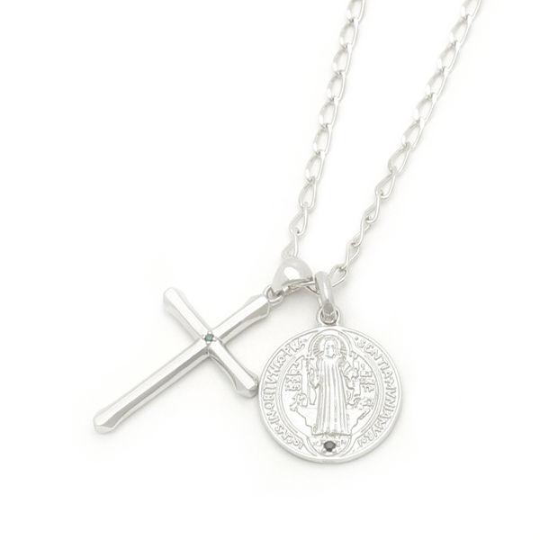 【Royal Stag Zest| ロイヤルスタッグ ゼスト】 シルバー ネックレス メンズ クロス 十字架 マリア コイン ダイヤ ブラックCZ SN25-028
