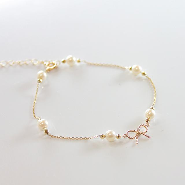 根本弥生プロデュースブランド【Tirouge│ティルージュ】 個数限定 Ribbon Pearl Bracelet リボンパールブレスレット 【ねもやよプロデュース】cc-ny001-6