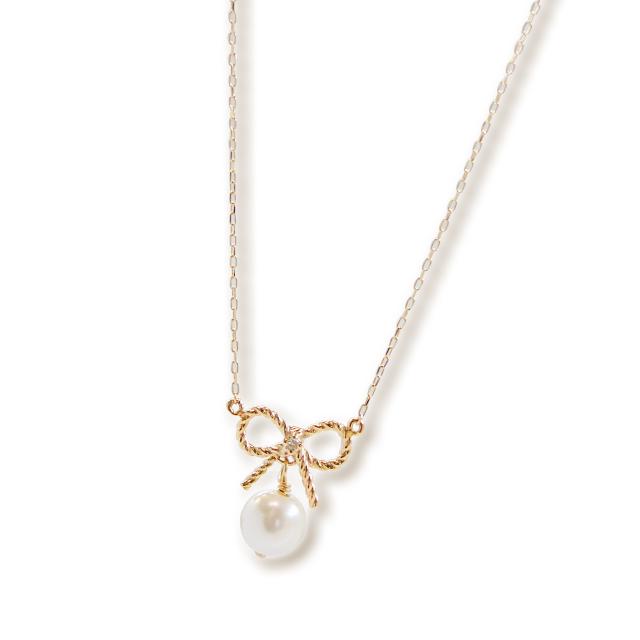 根本弥生プロデュースブランド【Tirouge│ティルージュ】 個数限定 Ribbon Pearl Necklace リボンパールネックレス 【ねもやよプロデュース】cc-ny001-5