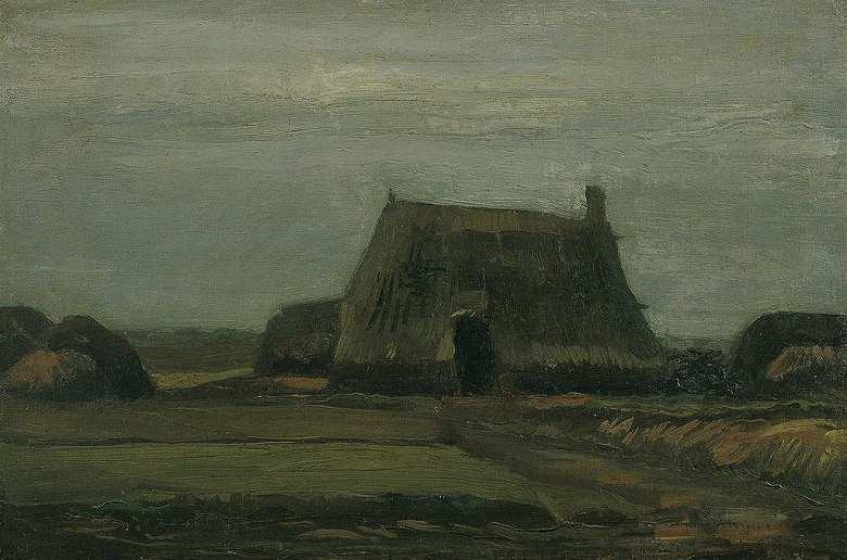 泥炭の山のある農場