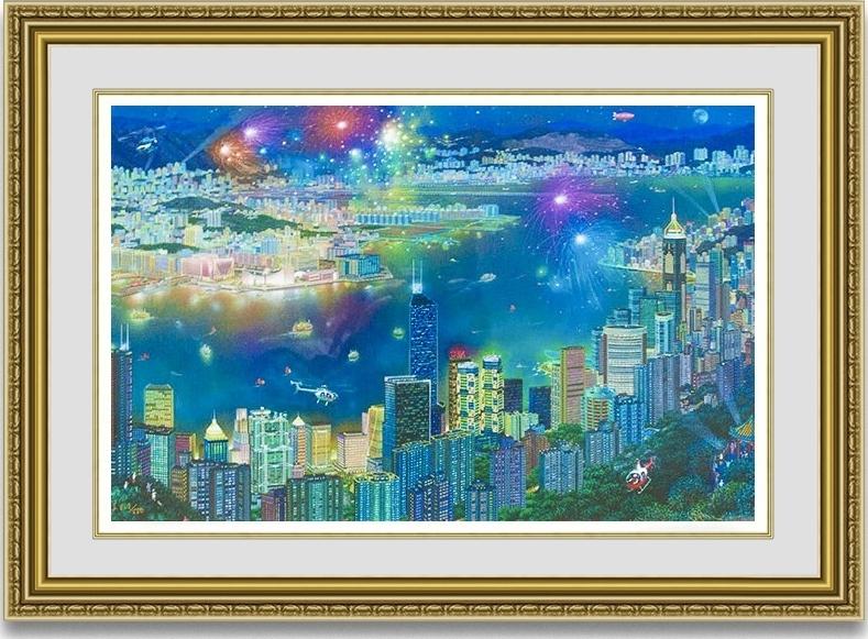 アレクサンダーチェン 「香港の夜景」 額縁付き