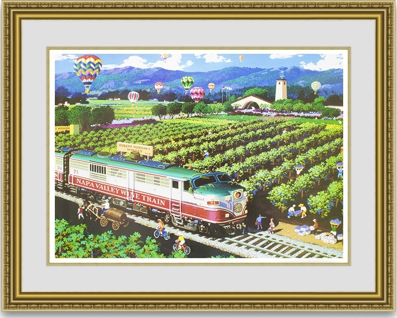 アレクサンダーチェン「CALIFORNIA WINE COUNTRY NAPA VALLEY TRAIN」 額縁付き