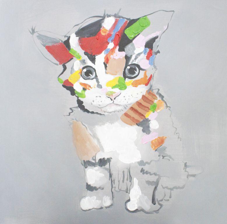 キャンバスアート カラフルな猫 直筆オリジナル作品