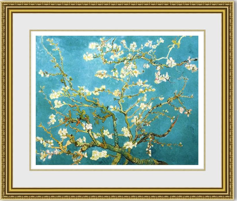 ゴッホ 「花咲くアーモンドの枝」 額縁付き