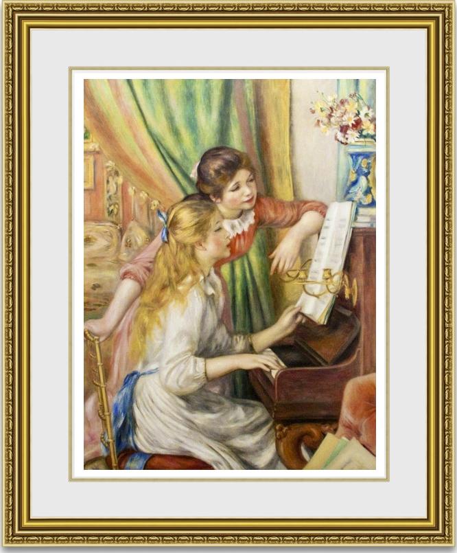 ルノワール 「ピアノを弾く少女たち」 額縁付き