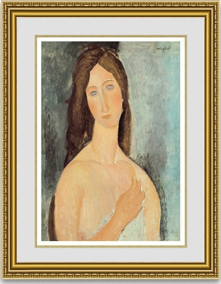 モディリアーニ「肩をあらわにしたジャンヌ・エビュテルヌ」 額縁付き