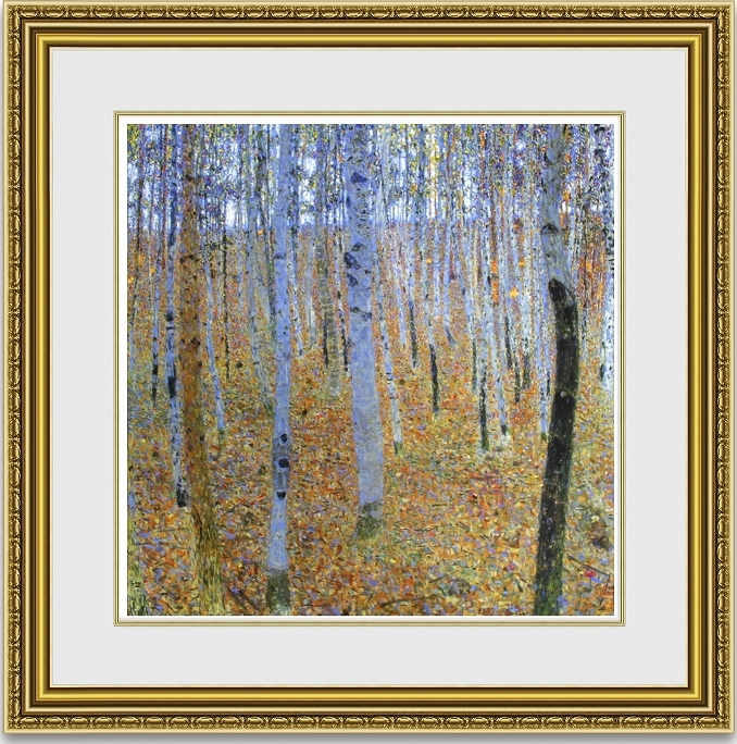 グスタフクリムト「ブナの森」 額縁付き