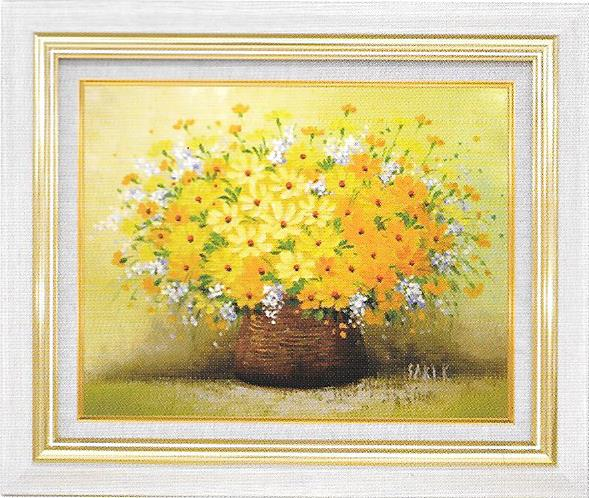 油彩画 木村咲黄色い小花 F6 額縁付き