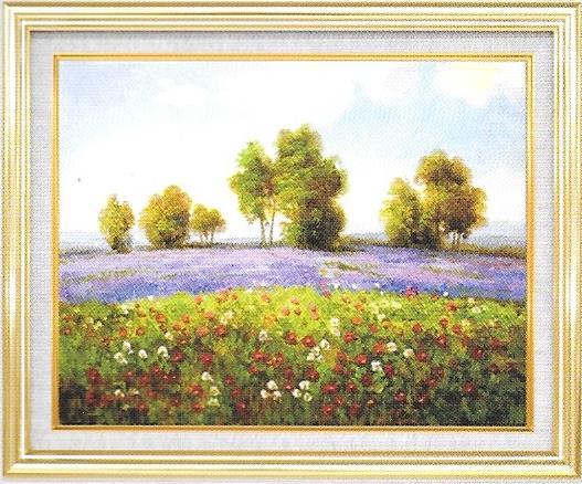 油彩画 エマラベンダーの咲く丘 F6 額縁付き