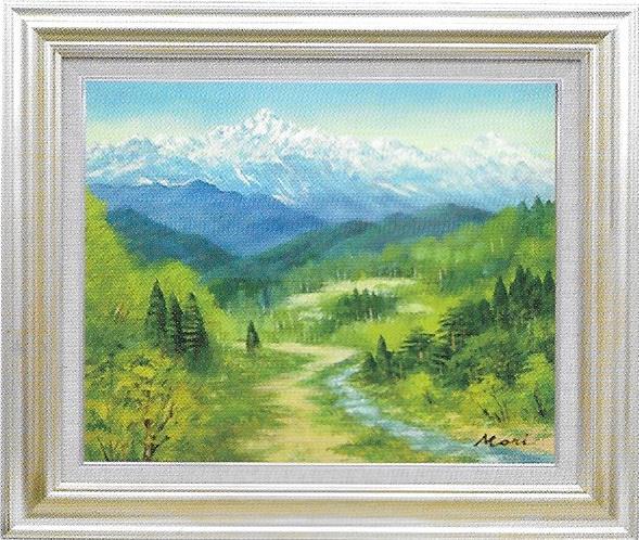 油彩画 森武信州北アルプス山麓 F10 額縁付き