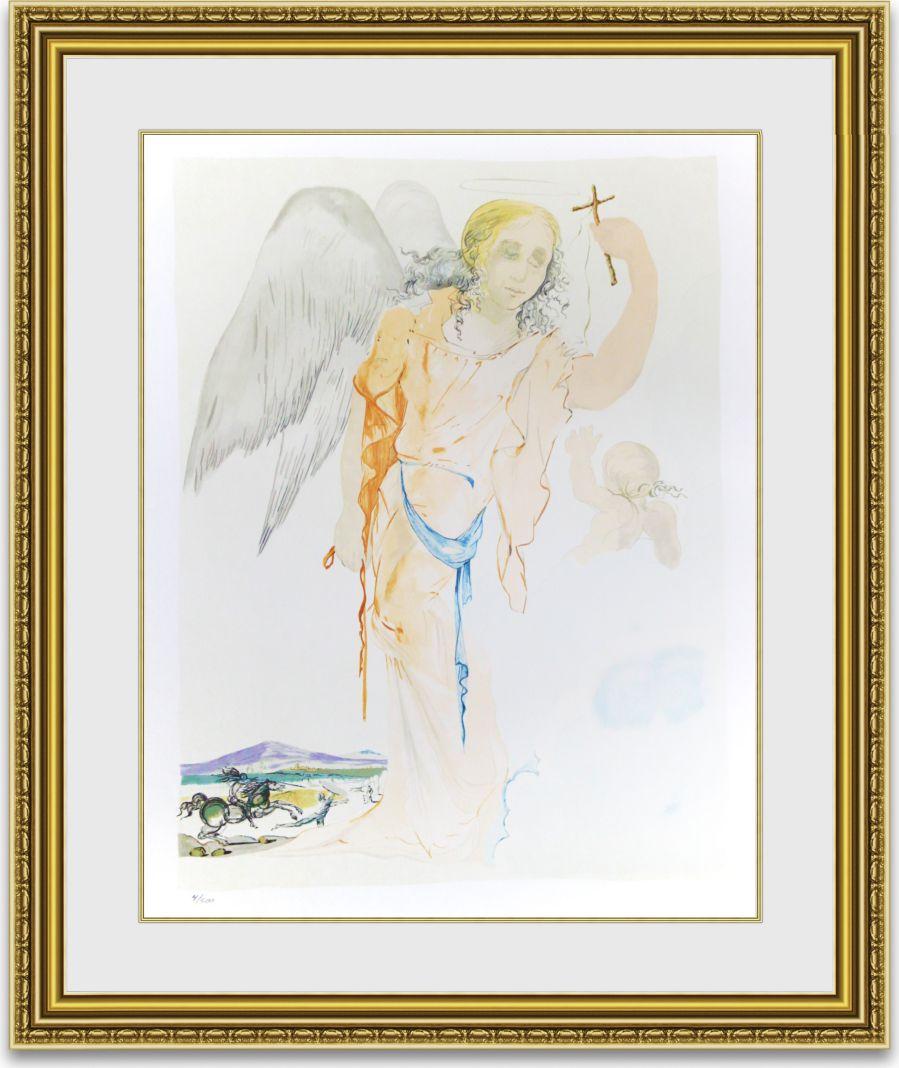 ダリ 「Angel with Cross」 額縁付き