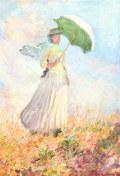 クロード・モネ日傘をさす女性(右向き)