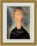 モディリアーニ「ブロンドの若い娘の肖像」 額縁付き