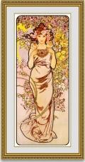 ミュシャ 「薔薇 ローズ」 額縁付き