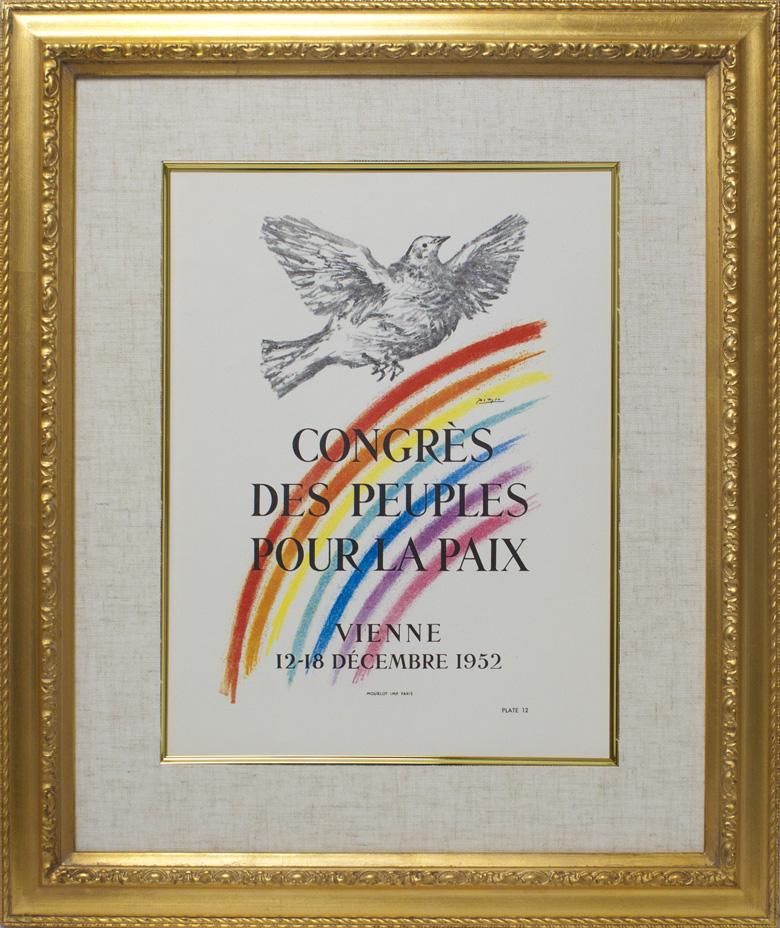 【ヴィンテージアート】ピカソ「平和のハト」 面金加工付 麻布マット仕様 額縁付き