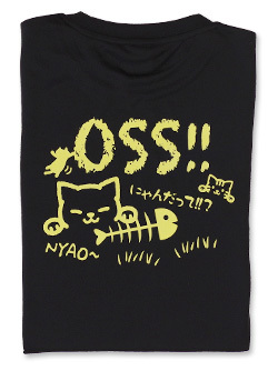 Tシャツ OSS!! にゃんだって (黒) 画像